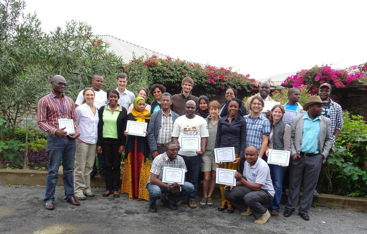 Participants and facilitators of the New Coaches Training held at Maanzoni Lodge along the Athi River in Kenya.