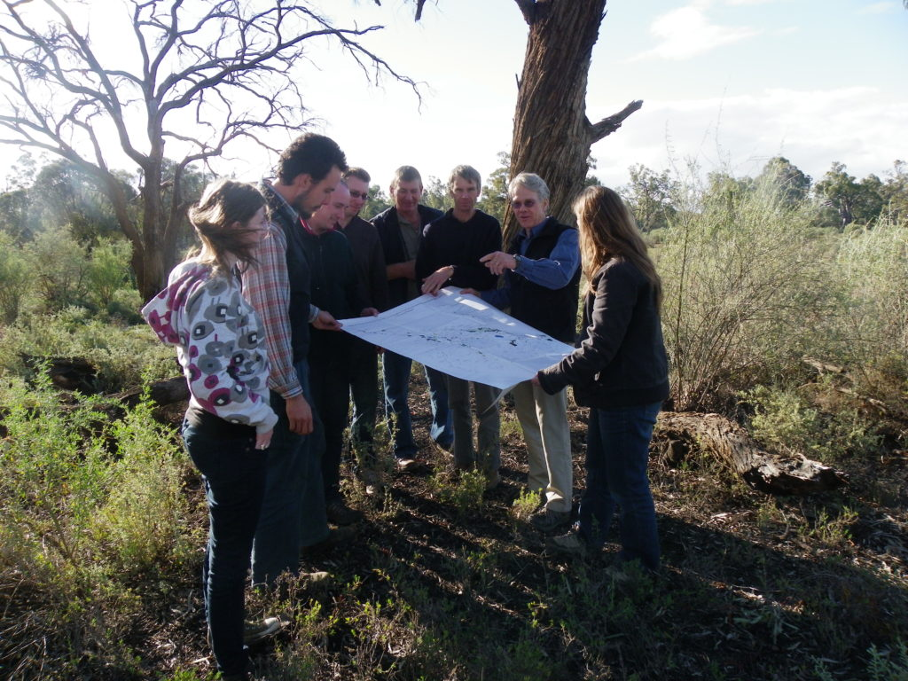 Conservation Action Planning (CAP) at Neds Corner, north-west Victoria. CAP is an adaptive management framework that guides the development of strategies, work plans and measures of success to achieve conservation impact. (Photograph: James Fitzsimons).
