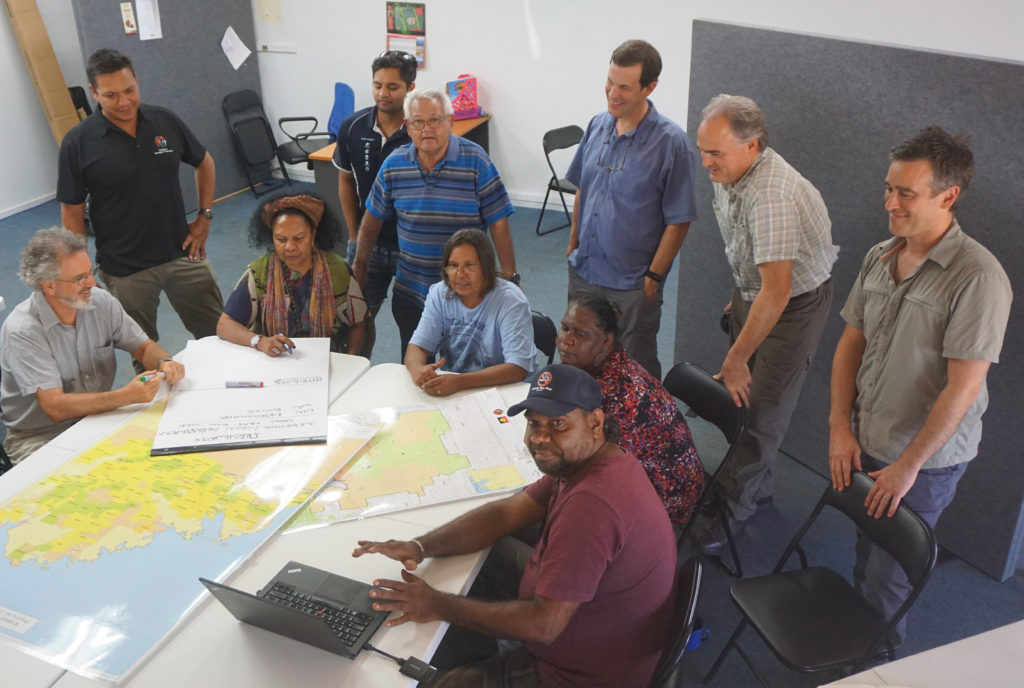 Development by Design workshop participants map out Healthy Country Planning values. Photo by Frank Weisenberger.